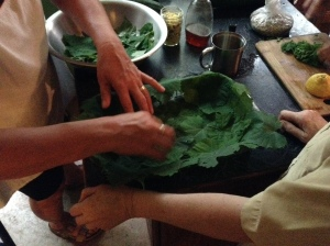Building a grape leaf casserole